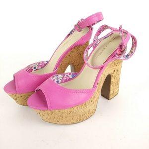 Hot Pink Peep Toe Ankle Strap Platform Sandals